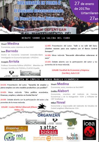 Presentación de libro y mesas redondas sobre política económica con Stuart Medina. Bilbao, 27 de enero