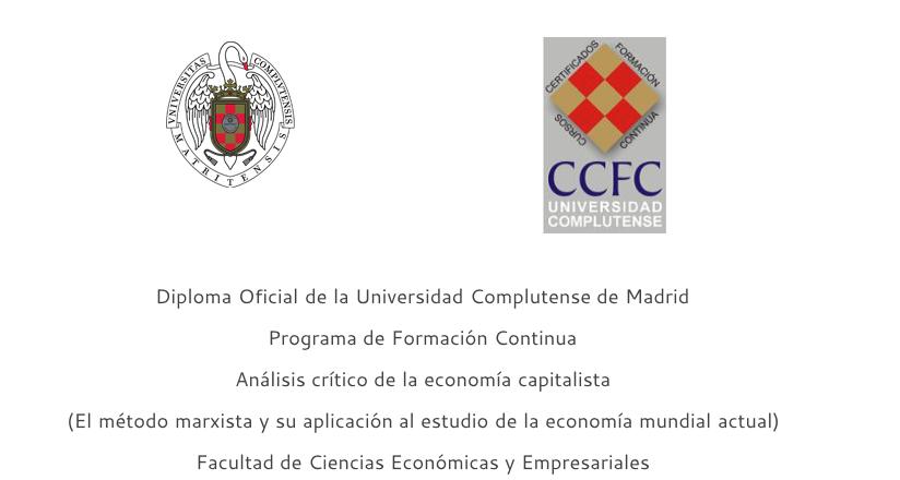 """Abierto el plazo de matrícula para el curso """"Análisis crítico de la economía capitalista"""""""